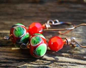Earrings Red Green Festive Art Glass  Lampwork Swarovski Crystal Christmas Copper