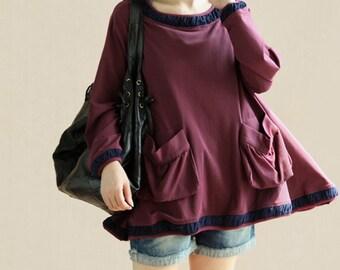 Lovely big swing Cotton shirt Cotton cape T-shirt