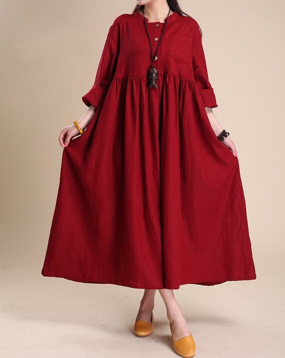Simple atmospheric linen  Maxi dress women tunic Long dress