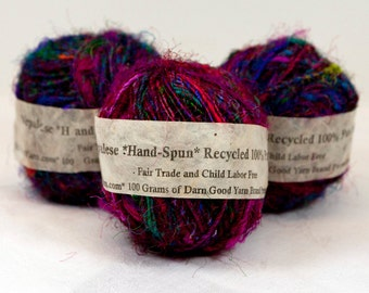 Darn Good Yarns Napalese Hand Spun 100 percent Silk Yarn - Multicolor