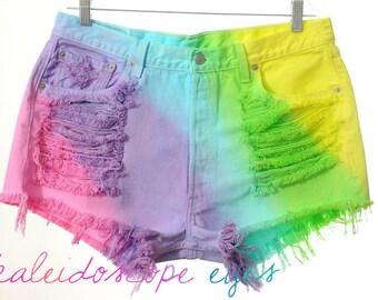 Vintage Levis 501 High Waist RAINBOW OMBRE Dip Dyed Denim Cut Off Shorts XXL
