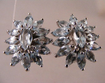 Vintage  Sterling Blue Topaz Cluster  Earrings  Lot 3230