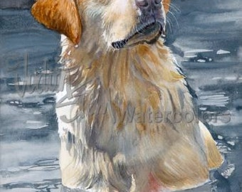 "Labrador Retriever, Yellow Lab, AKC Sporting, Service Dog, Pet Portrait Dog Art Watercolor Painting Print, Wall Art, Home Decor, ""Bailey"""