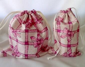 2 Pink Ribbons and Bows Fabric Drawstring Gift Bags Upcycled Reusable