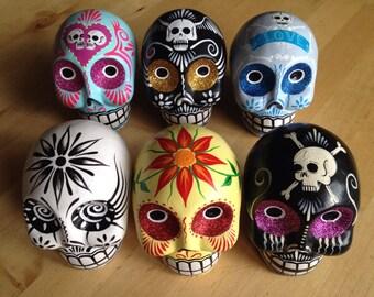 REDUCED! Hand Painted Ceramic Sugar Skulls, Day of the Dead, Dia de los Muertos, Decor, Halloween gift, xmas christmas