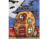 ACEO Original Halloween House with Witch Hat