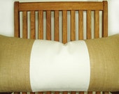 PRIVATE ORDER Two 12x24 Tan And White Linen and Burlap Lumbars Plus Two Faux Down Inserts