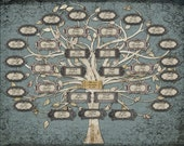 Family Tree For an Anniversary - Custom with 33 Labels - Blue Grey