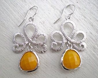 Fleur De Lis Teardrop Earrings/Yellow Earrings/Mustard Yellow Earrings/Chandelier Earrings/Tiara Earrings/Silver Earrings/Gifts For Her