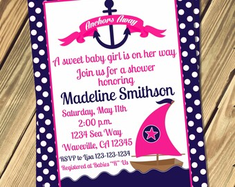 Nautical Girls Baby Shower Invitation Print Your Own
