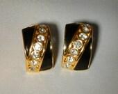 Vintage Earrings Black Enamel and Rhinestone Clipons