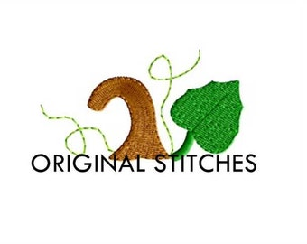 Pumpkin Stem and Leaf Monogram Dressing Mini Machine Embroidery Digital Design File