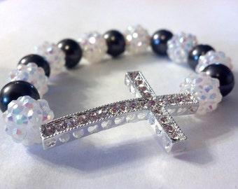 White and Charcoal Pearl SIDEWAYS CROSS Bracelet