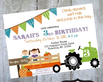 Hayride Pumpkin Patch Invitation Printable Birthday party invite by Luv Bug Design