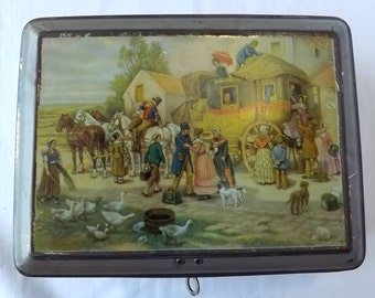 Lockable tin box with coach and horses in a country scene