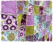 Rag Quilt - Throw Twin Full Queen KIng Size - Aviary 2 Lilac Aqua Green Modern Purple Bedding