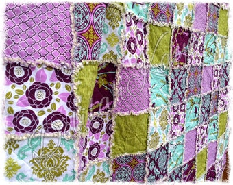 Rag Quilt - Throw Twin Full Queen KIng Size - Aviary 2 Lilac Aqua Green Modern Purple Bedding