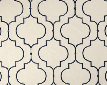 Two 96 x 50 Custom Curtain Panels -Kaslen Helmsley  Embroidered Trellis Tile Design - Navy, Black, Brown,  Teal, Grey and Pearl