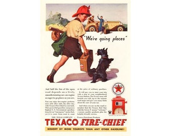 Cute Texaco Firechief Boy and Scottie Dog  - 1930s Vintage Advertising - Digital Download