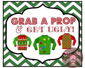 INSTANT DOWNLOAD - Ugly Sweater Party - Photo Booth Sign - Christmas Party - Holiday Party