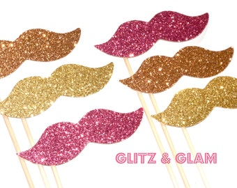 Glitz & Glam Glitter Mustache Collection - Set of 6 - Pink, Peach, and Gold Glitter Staches