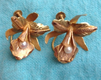 Gorgeous Antique 18k Gold and Natural Pearl Orchid Earrings, Estate, Vintage
