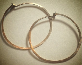 Hammered Gold Hoop Earrings - 14 Karat Gold Filled Hoops - Delicate Simple Gold Hoops - Sterling Silver Hammered Hoops
