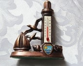 Vintage Souvenir Metal Lighthouse Ship and seagull Thermometer