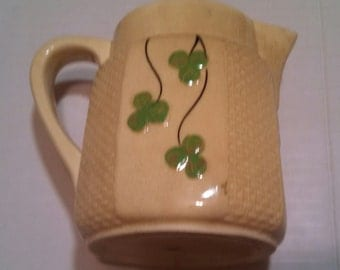 Antique Majolica Depression Era Pitcher Made In Japan Hand painted Clovers We do consider Best Offers on most items