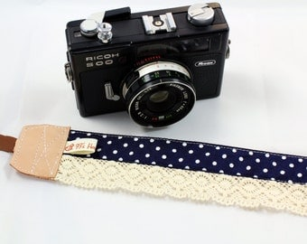 DSLR Camera strap (leather and webbing)---Lace style 12---polka dot---Navy Blue