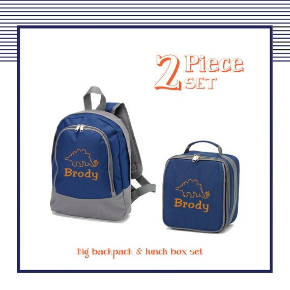 Personalized Dinosaur preschool 2 piece backpack set for boys