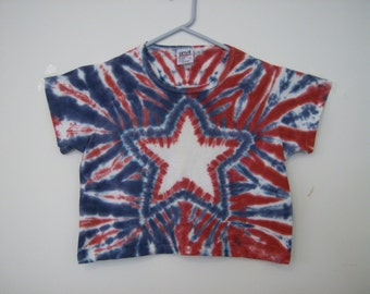 Star Tie Dye patriotic red, white, and blue crop T