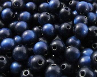 100 Vintage 6mm Dark Sapphire Moonglow Lucite Beads Bd1412