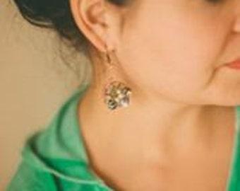 Wirewrapped Abalone, Amazonite, and Labradorite Nautilus Earrings