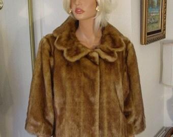 Faux Mink Fur - Vegan Fur - Terry Lewis - Cropped Jacket - Bolero - size L