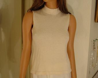 Vintage Adolfo Off White Knit Sleeveless Sweater Top  #2 NOS