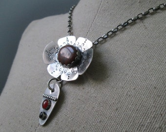 The Red Poppy Statement Necklace:  Sterling Silver Morgan Hill Poppy Jasper Flower with Carnelian and Onyx Dangle on Rolo Chain Jewelry