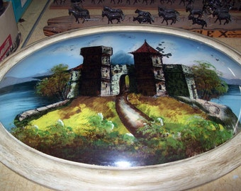 Vintage Reverse Painting Castle Oval Wooden Frame