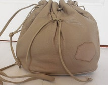 Vintage Carlos Falchi Oatmeal Leather Bag - 1980s Drawstring Pouch