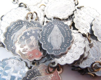 Lot of 8 Pcs 1930s Antique Religious Scalloped Medal Virgin Mary Miraculous Aluminum NOS