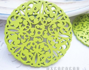 Painting Series - 50mm Pretty Apple Green Lace Style Wooden Charm/Pendant MH060 07
