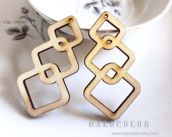 20x50mm Pretty Nature Geometry Wooden Charm/Pendant MH248 11