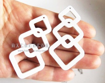 Painting Series  - 20x50mm Pretty White Geometry Wooden Charm/Pendant MH248 04