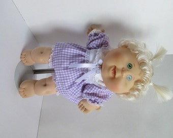 "14"" Baby Girl Cabbage Patch Purple and White Dress Set"