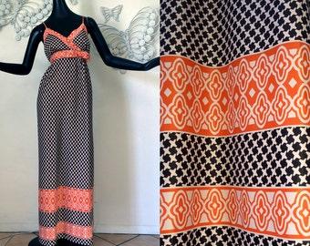 GORGEOUS Vintage 70s Maxi Dress Mod Geometric + Hollywood Regency Border Print 60s 70s Hippie Dress Empire Waist Halter Dress Medium Large