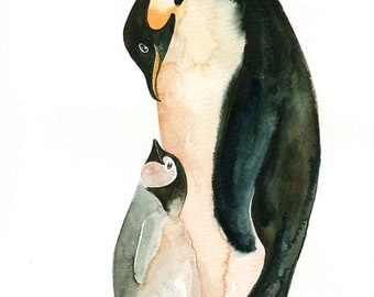 PENGUIN  with her GUY by DIMDImini Special Edition Print 8x10inch