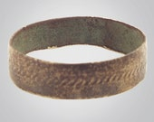 Ancient Viking Gold over Bronze Wedding Band Jewelry C.866-1067A.D. Size 9  (19.5mm)(brr448)