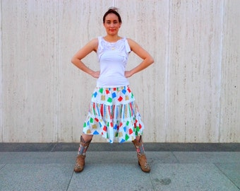 Vintage cowgirl skirt tiered skirt western skirt
