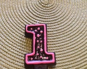 Pink and Black Painted Candle - candle birthday candle party decoration cake topper birthday candle.