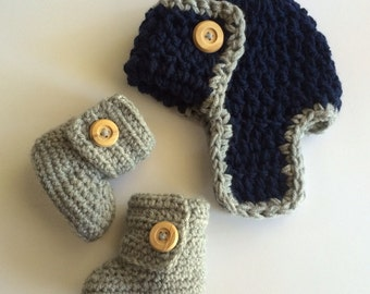 Aviator Pilot Hat and Bootie Set- gift set- photo prop- boots -